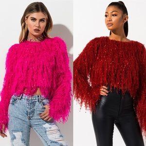 Rehab Red Fringe Shaggy Cropped Knit Sweater